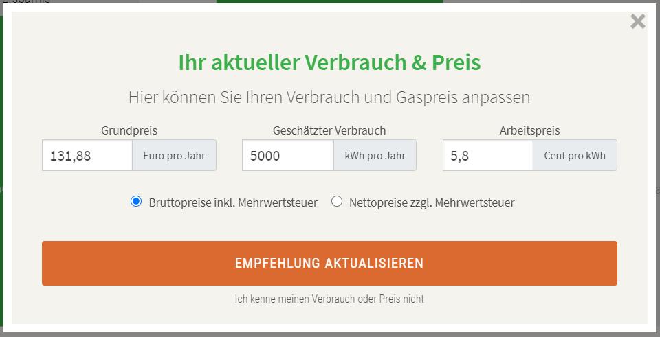 Formular für den aktuellen Verbrauch, Grundpreis und Arbeitspreis.