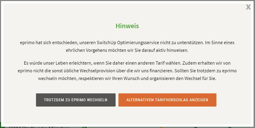 Hinweis von SwitchUp, dass eprimo keine Wechselprovision zahlt.